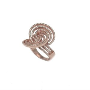 Rose Gold Sterling Silver Vermeil Pave Cz Band